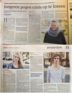Interview with Pelle, Hester and Zahra in het Parool